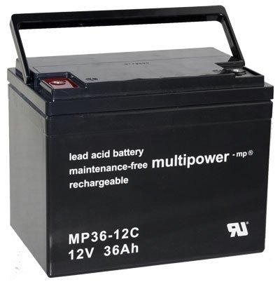 Multipower MP36-12C Zyklenakku Anschluss M6 12V 36Ah PB Bleigel Akku AGM Technik für Invacare P7E LX-3 LX-3 plus LX-4 Scooter RangerII FWD Jr. RangerII 250S FWS/RWD/MWD TDX Spree TDX SC Mistral Sunrunner 3+4 Shoprider Streamer (888W WA) Sovereign (888-3 888-4) Sunrunner 3&4 Wizz (888WNL WNLB) 6Runner10(888WNLM) Trooper Power 6Runner10 FPCC(PHFW-1118,PHFW-1120) (888WAL) Jetstram M Scooter M33/M36 M53/M54 Pride Jazzy(610,1107,1103,1113 ATS 1143) Dynamo,Jet 3 7 PrideLX Accu Batterie Battery Bateria
