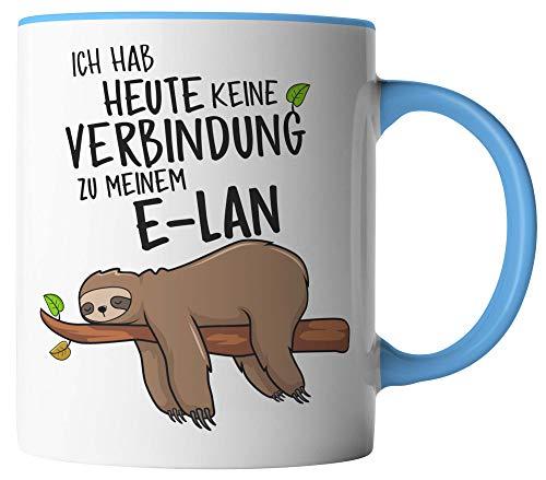 vanVerden Tasse - Ich habe heute keine Verbindung zu meinem E-Lan - Faultier - beidseitig Bedruckt - Geschenk Idee Kaffeetassen, Tassenfarbe:Weiß/Blau