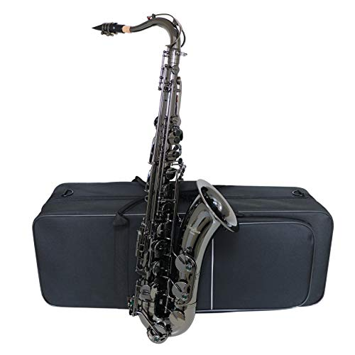 Tenor Saxophone Bb JTS-802 Professional Black lacquered Tenor Sax with Cleaning Cloth,Gloves, Carrying Case, Mouthpiece, Neck Straps,Reeds