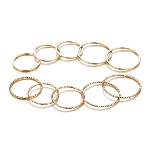 XCHJY Goldfarben Rundes Hohler Geometrischer Ring Set for Frauen Art Und Weise Kreuz Twist-geöffneten Ring Joint-Ring-Frau Schmuck 1234 (Main Stone Color : A6 Gold Color)