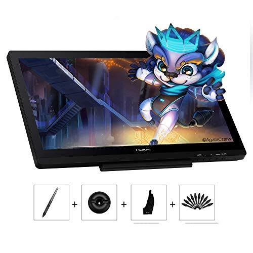 HUION 19,53-Zoll Grafiktablett mit Display Kamvas 20 mit 8192 Stufen Batterielose Stiftunterstützung Neigungsfunktion, Blendschutzglas, 120% sRGB-Farbraum, Ideal für Home-Office & E-Learning
