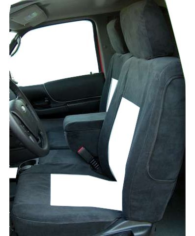 Durafit Seat Covers Made to fit 2010-2012 Ford Ranger Pickup 60/40 Bench Split Seat Seat Custom Exact Fit Seat Covers, Black/Gray Twill