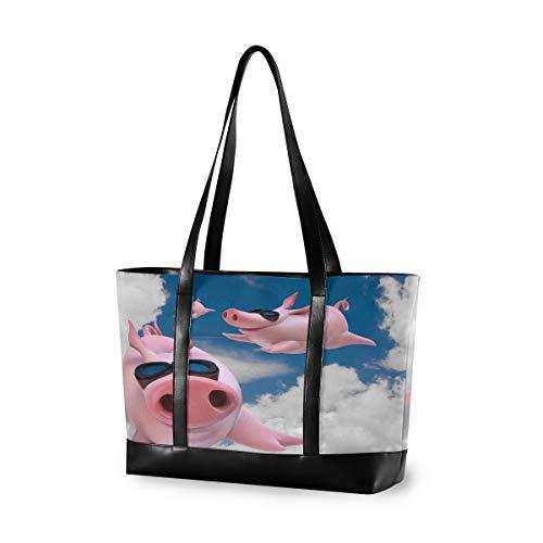CPYang Laptop-Tasche, 39,6 cm (15,6 Zoll), lustige Tiere, fliegendes Schwein, Leinen, Schultertasche, große Handtasche, Damen, Computer-Tasche für Arbeit, Business, Schule, Reisen