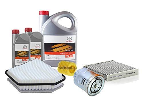 Kit Set Filters Herziening Motorolie Echte Toyota 5W-30 PFE synthetische 08880-83389 C2 7 Liter, (FRAM merk filters) 2.0D-4D motor