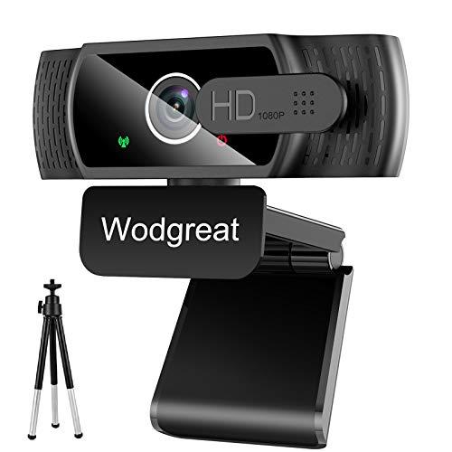 Wodgreat Webcam con Micrófono para PC, Cámara Web 1080P Full HD, Webcam USB 2.0 para Video Chat y Grabación, Plug y Play, con Webcam Cover y Trípode, Compatible con Windows, Mac y Android
