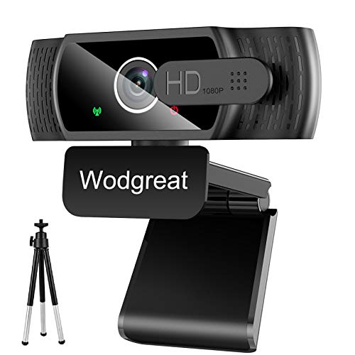 Wodgreat Webcam con Micrófono para PC, Cámara Web 1080P Full HD, Webcam USB 2.0 para Video Chat y Grabación, Plug y Play, con Webcam Cover y Trípode, Compatible con Windows, Mac y Android
