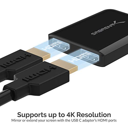 Sabrent USB-Typ-C Dual-HDMI Adapter [Unterstützt bis zu Zwei 4K-30-Hz-Monitore, nur mit Windows-Systemen kompatibel] (DA-UCDH)