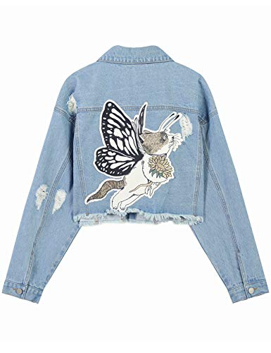 Elf zak dames jeansjas met borduurwerk gaten Blouson korte overgangsjas licht korte broek denim jas