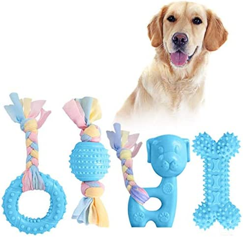 JYPS Puppy Chew Toys, 4pcs Dog Teething Chewing Toy Set with Ball and Cotton Ropes, Aggressive Chew Toys, Interactive Pet Toys Gift Pink for 8 Weeks Small Puppies and Medium Dogs (Blue)