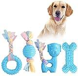 JYPS Giocattoli da Masticare per Cuccioli, Set di Giocattoli per dentizione per Cani 4 Pezzi con in Cotone e Palla, Giocattoli da Masticare Regalo per Cuccioli di Taglia Piccola e Cani di Media (Blu)
