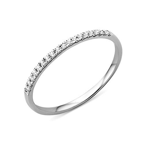 Miore Ring Damen 0.09 Ct Diamant Ewigkeitsring aus Weißgold 9 Karat / 375 Gold, Schmuck mit Diamanten Brillianten