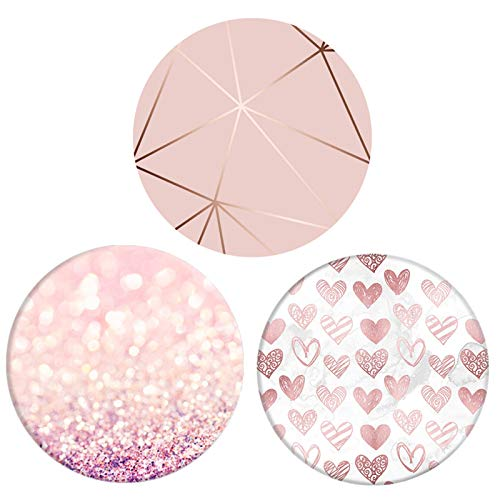 Foldable Cell Phones Stand and Tablets Holder ( 3 Pack ) - Heart Rose Gold Geometric