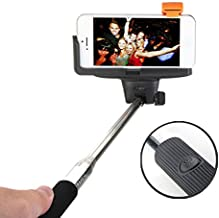 Selfie Stick, QuickSnap Pro 3-In-1 Self-portrait Monopod Extendable Wireless Bluetooth Selfie Stick with built-in Bluetooth Remote Shutter With Adjustable Phone Holder for iPhone 6, iPhone 6 Plus, iPhone 5 5s 5c, Android (Black)