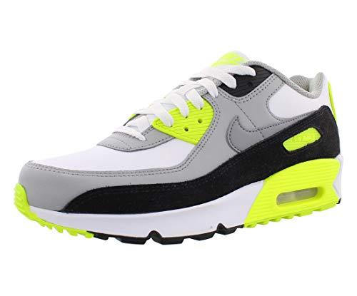 Nike Girls AIR MAX 90 LTR (GS) Running Shoe, White/Particle Grey-Lt Smoke Grey-Volt, 39 EU