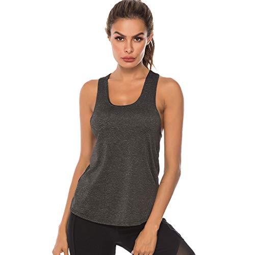 Fenverk Damen Sport Tank Top - Essential Fitness T-Shirt Tops Sporttop Yoga RingerrüCken Oberteil Laufen Funktions Shirt Active Tanktops Unterhemd Feinripp(Dunkelgrau,L)