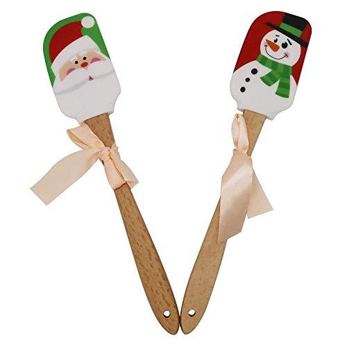 Allen - Spatola natalizia in silicone con manico in legno, set di spatole per pupazzo di neve e Babbo Natale