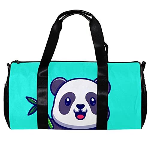 Borsone da palestra rotondo con tracolla staccabile Panda con borsa da allenamento in bambù per donne e uomini