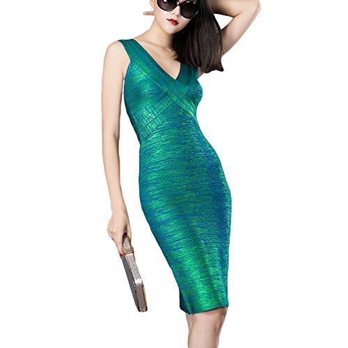 HLBandage Rayon Women V Neck Metallic Foil Print Bandage Dress(S,Verde)