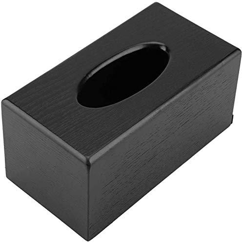 Caja de pañuelos de Madera, Caja de pañuelos Rectangular Caja de pañuelos de Madera de Elegancia Natural para Sala de Estar, Dormitorio, Cocina (Negro)