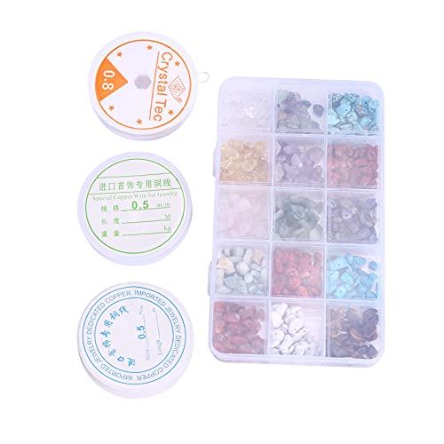 Noblik Kit de Cuentas de Piedra Irregulares de Chips de Cristal Natural con Alambre de Metal y Cuerda Elástica para Manualidades de Fabricación de Joyas