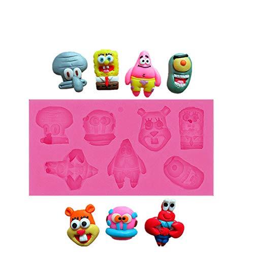 VIOYO Real Post Spongebob Patrick-Figuren, handgefertigte Schokoladen-Backformen, Lebensmittelqualität, flüssige Form, grüner Keks