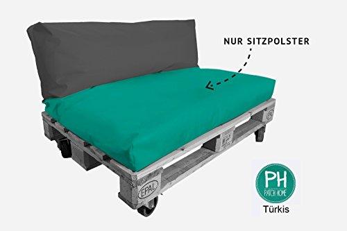Patchhome Coussin pour palette - Assise pour intérieur et extérieur - Turquoise - Dimensions : 80 x 60 x 15 cm - 25 couleurs et 7 tailles au choix