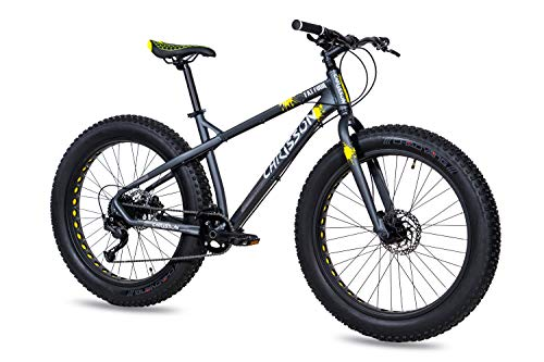 CHRISSON Bicicleta de montaña Fat Three de 26 pulgadas, color negro y amarillo, Hardtail Fat Tyre Mountain Bike, bicicleta con neumáticos 4.0 grasos y 9 velocidades Shimano Alivio