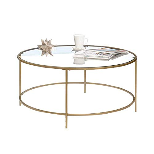 Home&Selected Nordic salontafel, transparant, van gehard glas, woonkamer, sofa, tafel, rond, balkon, tuin, vrijetijdstafel, 23,6 x 17,7 inch