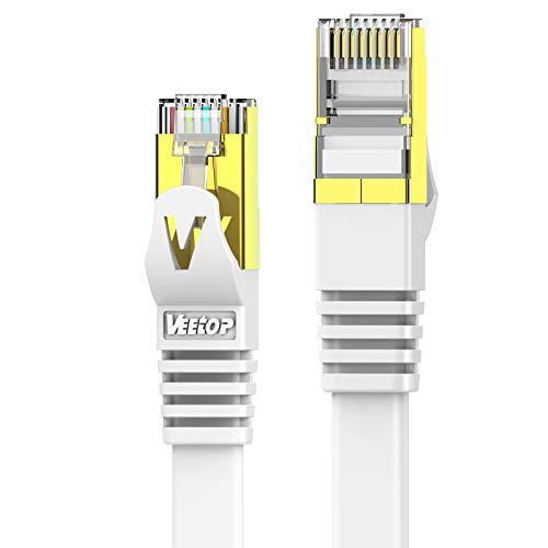 VEEtop Cat 7 - Cable Ethernet Cat 7 1m plat Haut D¨¦bit 10Gbps, C?ble Lan internet avec Connecteurs Rj45 Plaqu¨¦s Or - Blanc