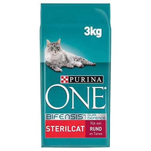 Purina ONE Sterilcat Kattenbrokken met Rund en Tarwe, 3kg - doos van 4 (12kg)