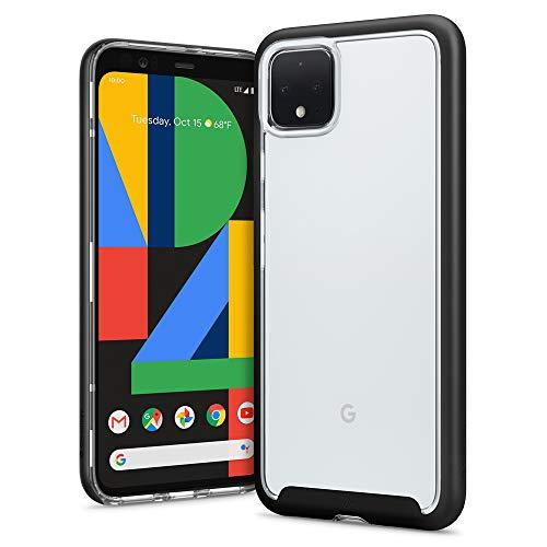 Hülleology Skyfall Kompatibel mit Google Pixel 4 XL Hülle, Transparent PC Rückschale Schwarz Bumper Hülle, Google Pixel 4XL Hülle (Matte Black)