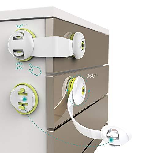 CHENGNAN Cierres de Seguridad para Armarios Cerraduras de Seguridad Puertas Niño para Cajones Puertas WC Electrodomésticos 5 Unidades. Adhesivo 3M