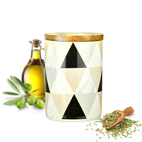 Sendez Vorratsdose 800ml mit Holzdeckel Gummidichtung Porzellan Vorratsbehälter Dose #6