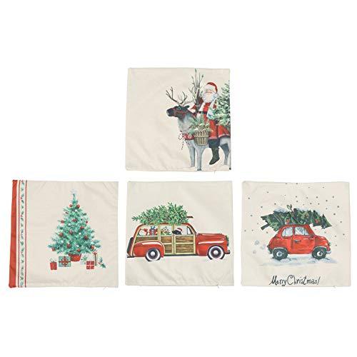 NUOBESTY Fundas de almohada navideñas, fundas de cojín para decoración de fiesta de Navidad, adorno de regalo de Navidad, 4 piezas