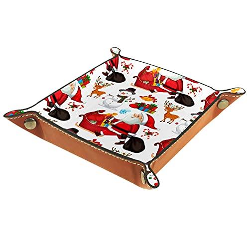 MUMIMI Caja de almacenamiento de la exhibición de la joyería anillo pendientes caja de joyería anillo titular caso Navidad Santa Claus Alce muñeco de nieve ciervo patrón