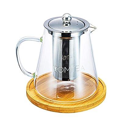 Glass Teapot with Stainless Steel Removable Infuser for Loose Leaf Tea, Tea Maker Brewer, Bonus Tea Kettle & Infuser Coaster, Microwave & Stovetop Safe, Gift Box, 950ml/32oz