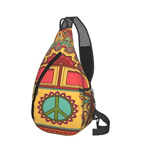Sling Rucksack Anti-Diebstahl Schulter Brust Crossbody Tasche Casual 3D Print Travel Daypack, Peace Sign Hippie Vintage Mini Van schwarz, Einheitsgröße