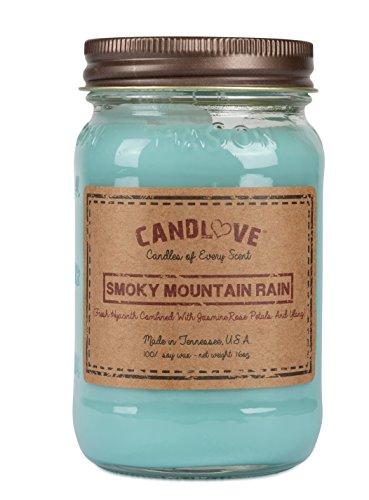 Candlove Smoky Mountain Rain Scented 16oz Mason Jar Candle 100% Soy Made in The USA