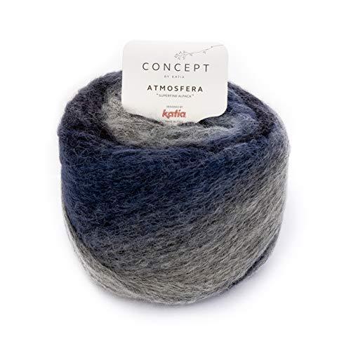 Katia Atmosfera Fb. 300, 50g Alpaka Wolle zum Sricken und Häkeln, Alpakawolle mit Farbverlauf