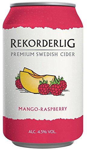 Rekorderlig - Cider - 24x0,33l Dosen in den brandneuen Sommerfarben   Set inkl. lukky24® Schlüsselanhänger für Einkaufswagenchip (Mango-Himberre 4,5% Vol)