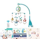 mobile musicale per culla con decorazione campanellino con telecomando starlight, culla mobile per musica per bambini, supporto musicale musicale per passeggino e culle, blu