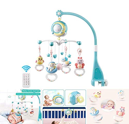 Mobile musicale per culla con decorazione campanellino con telecomando Starlight, culla mobile per musica per bambini, supporto musicale musicale per