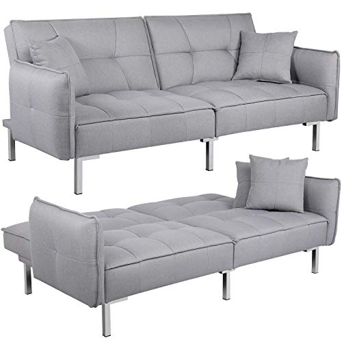 Topeakmart Convertible Sofa Couch Bed Sectional Futon Sofa Sleeper Bed with Fabric Cover Armrest Backrest