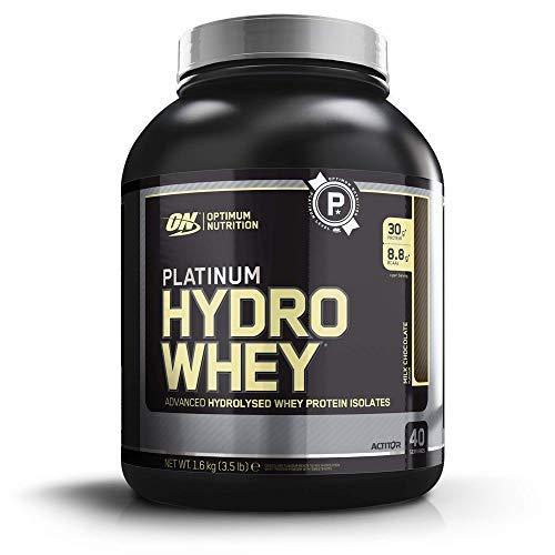 Optimum Nutrition Platinum Hydro Whey, Proteinas Whey en Polvo, Proteina de Suero para Masa Muscular y Musculacion, Fuente de BCAA, Chocolate, 40 Porciones, 1,6 kg, el Envase Puede Variar