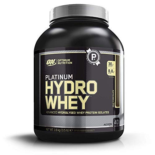 Optimum Nutrition ON Platinum Hydro Whey, Proteínas en Polvo, para Masa Muscular y Musculacion, fuente de BCAA, bajo en Calorías, Chocolate, 40 porciones, 1.6 kg