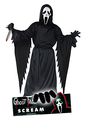 Scream Movie Edition Ghostface Komplett Set original Ghostface Scream Lizenz Latex Maske, Scream Kutte Erwachsenengröße (unisize) mit Gürtel, schwarze Handschuhe und blutigem Horror Killer Messer alles dabei für Halloween Party, Horror Fete, Scream Kult Kino Event Absolutes Megaset mit all inclusive Horror und Gänsehaut Garantie