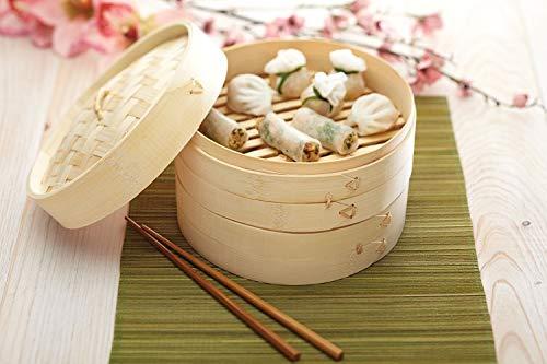 Cesta para cocer al vapor, vaporera de bambú, 20 Cm, 2 niveles y 1 tapa, Cocina rápida y eficiente para la salud y el gusto! by ARTUROLUDWIG
