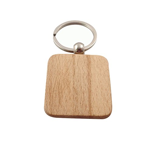 Demarkt DIY houten sleutelhanger houten sleutelring voor gravure bericht informatie sleutelring 4 * 4CM Rechteckig-1