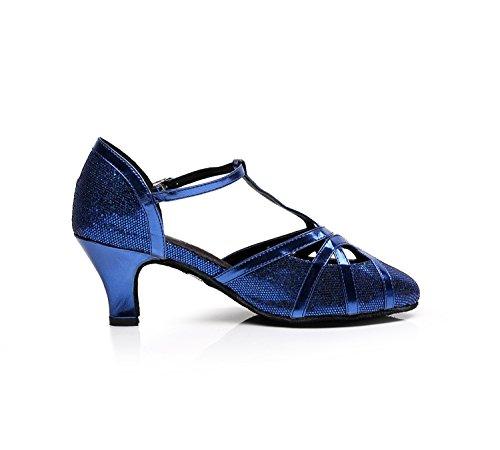 Minitoo qj6133Damen Geschlossen Zehen High Heel PU Leder Glitzer Salsa Tango Ballsaal Latin t-strap Dance Schuhe, Blau Blue-6cm Heel,38 EU/5.5 UK - 4