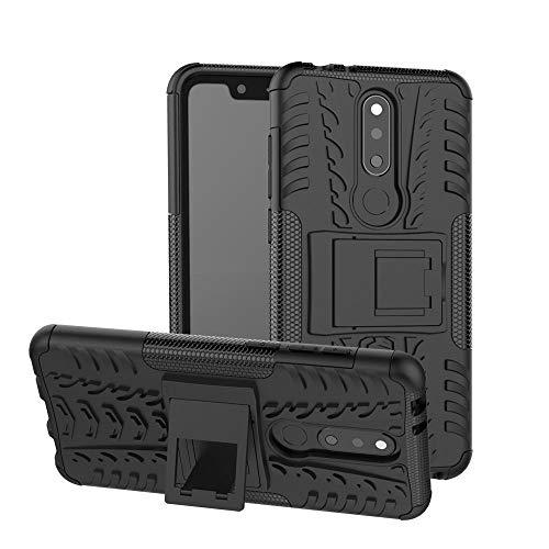 Sangrl Custodia per Nokia 5.1 Plus/Nokia X5, [2 in 1] Hybrid Dual Layer Armor Cover Robusta Guscio di Protezione PC + TPU Anti-Scivolo Custodie Case Nero